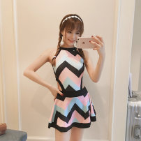 one piece  Tongtong swimsuit M,L,XL stripe Skirt one piece Steel strap breast pad Nylon, spandex female Sleeveless Casual swimsuit