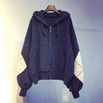 sweater Spring 2021 Average size Pink, dark blue, apricot Long sleeves Cardigan singleton  Regular other 95% and above Hood Regular commute routine Solid color Straight cylinder Regular wool Keep warm and warm 18-24 years old Pockets, stitching zipper