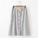 skirt Autumn 2020 M, L grey longuette Natural waist A-line skirt Solid color Type A More than 95% cotton Pocket, button