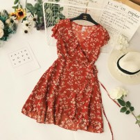 Dress Summer of 2018 Yellow with red flowers Average size Short skirt singleton  Short sleeve street V-neck High waist Decor other Ruffle Skirt Flying sleeve Others Type X Lace up 31% (inclusive) - 50% (inclusive) Chiffon Europe and America
