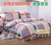 Bedding Set / four piece set / multi piece set cotton Quilting Geometric pattern 128x68 Other / other cotton 4 pieces 40 1.2m (4 ft) bed, 1.5m (5 ft) bed, 1.8m (6 ft) bed Fitted sheet type, bed skirt type, bedspread type Qualified products Simplicity 95% (inclusive) - 100% (exclusive) cotton twill