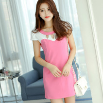 Dress Spring of 2018 Light Rose sky blue SMLXLXXL Short skirt singleton  Short sleeve commute Crew neck High waist Solid color Socket other routine Others 25-29 years old Caidaifei Korean version Hollow stitching L0147 knitting Polyester 95.9% polyurethane elastic fiber (spandex) 4.1%
