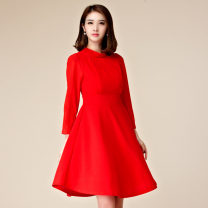 Dress Winter 2016 Black, red S,M,L,XL,2XL,3XL Middle-skirt Fake two pieces Long sleeves commute stand collar High waist Solid color Socket Princess Dress routine Type H Korean version