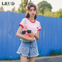 T-shirt Pink white SML Summer of 2018 Short sleeve Crew neck Self cultivation Regular routine commute 18-24 years old Korean version youth LRUD LRUD1499370 Love pattern Cotton 94.2% polyurethane elastic fiber (spandex) 5.8% Pure e-commerce (online only)