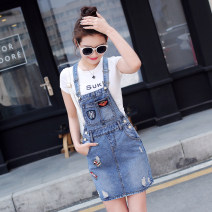 Dress Autumn 2016 Picture color S,M,L,XL Short skirt singleton  Sleeveless commute middle-waisted One pace skirt routine straps 25-29 years old Type H Other / other Korean version Hole, hand worn, three-dimensional decoration, strap 71% (inclusive) - 80% (inclusive) Denim cotton