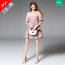 Dress Summer 2016 Picture color more color, please consult customer service 145/72/XXS 150/76/XS 155/80/S 160/84/M 165/88/L 170/92/XL Short skirt singleton  elbow sleeve Sweet One word collar middle-waisted Solid color zipper A-line skirt pagoda sleeve Others 25-29 years old Type A Naixin other other