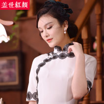 cheongsam Spring 2016 S ml XL XXL private customization / contact customer service white three quarter sleeve long cheongsam Retro High slit Semicircle lapel Solid color Piping Beauty of the world silk Mulberry silk 100% Pure e-commerce (online only)
