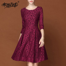 Dress Autumn 2014 Jujube (in stock) XXL L XL 3XL Short skirt singleton  three quarter sleeve commute Crew neck middle-waisted Big flower Socket Big swing routine Others 30-34 years old Ink and wash Retro Pleated zipper lace S257 More than 95% Lace polyester fiber Polyester 100%