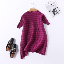 Dress Summer of 2018 Red wine red purple black Average size Middle-skirt singleton  Short sleeve Sweet Crew neck Loose waist stripe Socket A-line skirt other Type A fold More than 95% other polyester fiber Ruili