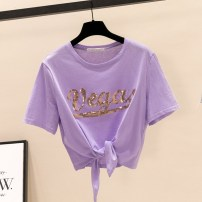 T-shirt Taro purple, light orange and white black S M L XL Short sleeve Summer of 2018 Round neck Short paragraph Loose conventional street cotton 86% (inclusive) - 95% (inclusive) Creativity letter Sequins neutral