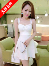 Dress Summer 2016 White, black, red, 11 socks, 1 pair Average size Short skirt singleton  Sleeveless Sweet One word collar middle-waisted Solid color Socket Princess Dress camisole 18-24 years old Open back, strap, zipper brocade