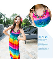 Dress Summer 2016 Rainbow color S,M,L longuette singleton  Sleeveless commute other High waist Abstract pattern Socket Big swing other camisole 25-29 years old Type H Other / other ethnic style Bowknot, diamond, lace, tridimensional decoration, printing 51% (inclusive) - 70% (inclusive) brocade