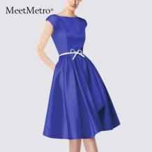 Dress Summer 2017 Royal Blue SML Mid length dress singleton  Short sleeve street One word collar High waist Socket A-line skirt other Others Type A