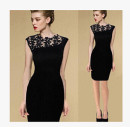 Dress Summer 2017 black S,M,L,XL,2XL Short skirt singleton  Sleeveless street Crew neck High waist Solid color Socket Pencil skirt Type X Other / other Lace up, Sequin 30% and below cotton Europe and America