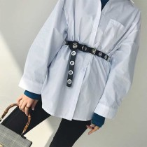Belt / belt / chain Pu (artificial leather) black female belt Versatile Single loop youth Pin buckle Geometric pattern soft surface 2cm alloy 106cm