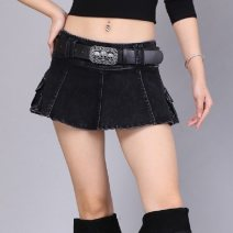 skirt Spring 2020 Big size for belt, medium size for belt, small size for belt, large size for belt black Miniskirt commute low-waisted Umbrella skirt Solid color Type A 81% (inclusive) - 90% (inclusive) Denim cotton Stitching, fraying, pleating Korean version