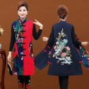 Middle aged and old women's wear Spring 2018, autumn 2018 ethnic style Vest Straight cylinder singleton  Decor 50-59 years old Cardigan moderate One word collar Medium length A-07 pocket cotton 96% and above Single breasted