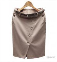 skirt Spring 2021 S,M,L,XL,2XL,3XL Off white, grey, black, Dark Khaki Middle-skirt sexy High waist Suit skirt Pocket, button, zipper, thread decoration, stitching