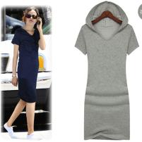 Dress Summer 2015 Light grey, dark grey, black, navy S,M,L,XL,2XL,3XL,4XL,5XL,6XL,7XL,8XL Middle-skirt Short sleeve Crew neck cotton