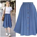 skirt Summer of 2018 S,M,L,XL,2XL,3XL Light blue, dark blue longuette Versatile High waist High waist skirt Solid color Type A 18-24 years old 51% (inclusive) - 70% (inclusive) Denim cotton Button