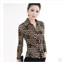 shirt Long sleeve (Leopard Print), short sleeve, orange color S / 2, M / 3, L / 4, XL / 5, XXL / 6, XXL / 7, XXXXL / 8 Spring 2021 nylon 51% (inclusive) - 70% (inclusive) Long sleeves commute Regular Polo collar Single row multi button routine Leopard Print 40-49 years old Self cultivation Ol style