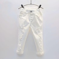 trousers Other / other female Size 7 suggests height below 90cm, size 9 suggests height below 100cm, size 11 suggests height below 110cm, size 13 suggests height below 120cm, size 15 suggests height below 130cm white summer trousers Korean version No model Jeans Leather belt middle-waisted Denim