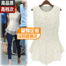 Lace / Chiffon Summer of 2018 Sleeveless commute Socket Fake two pieces Self cultivation Regular Crew neck Solid color Ol style