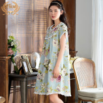 Nightdress Qingtong Greyish green 160(M)165(L)170(XL)175(XXL) Simplicity Short sleeve pajamas Middle-skirt summer Plants and flowers youth Crew neck cotton printing More than 95% Woven cotton fabric 200g Spring and summer 2016 Cotton 100% Pure e-commerce (online only) Cotton 100%
