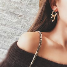 Earrings Alloy / silver / gold RMB 1.00-9.99 Other / other Metal Bamboo Earrings brand new female Japan and South Korea goods in stock Fresh out of the oven Alloy inlaid artificial gem / semi gem