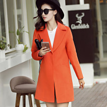 woolen coat Autumn 2016 S M L XL XXL Orange polyester 91% (including) - 95% (excluding) Medium length Long sleeves commute Buckle tailored collar Solid color Self cultivation Korean version 4692N Caidaifei 25-29 years old Imitation fabric