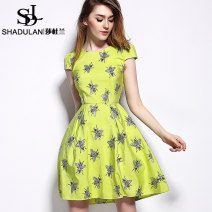 Dress Summer 2014 Red fluorescent green 155/S 160/M 165/L 170/XL 175/XXL Middle-skirt singleton  Short sleeve street Crew neck middle-waisted Abstract pattern zipper Big swing routine 25-29 years old Sadulan 31% (inclusive) - 50% (inclusive) cotton Cotton 50% polyester 50% Europe and America