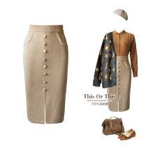 skirt Autumn 2015 S,M,L Black, light Khaki longuette Retro Pencil skirt Solid color 81% (inclusive) - 90% (inclusive) knitting wool Button