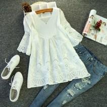 shirt L,XL,2XL,3XL,4XL,5XL Spring 2020 cotton 96% and above elbow sleeve Sweet Medium length V-neck Socket routine Solid color High waist type Mori