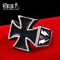 Ring / ring Titanium steel 51-100 yuan BEIER brand new goods in stock Europe and America male Fresh out of the oven Not inlaid Cross / crown / Roman numerals BR8-205 2015 no