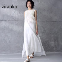 Dress Summer 2016 white Xs, s, m, l, XL, 2XL, 24-hour delivery longuette singleton  Sleeveless commute stand collar Loose waist Solid color zipper Irregular skirt Type H Natural coffee literature 3D, zipper, mesh, embroidery 30% and below organza  cotton