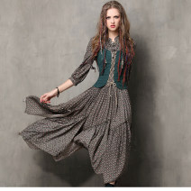 Dress Fall 2017 blackish green S,M,L,XL longuette Fake two pieces elbow sleeve commute stand collar middle-waisted Decor Socket Irregular skirt routine Others T-type Retro Asymmetric, strap, zipper 81% (inclusive) - 90% (inclusive) brocade cotton