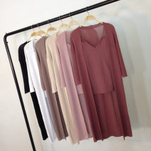 Wool knitwear Summer of 2018 Sling + cardigan two-piece set, the same color series, not only sell! White, light blue, black, apricot, camel, lotus root powder, embroidered red three quarter sleeve Two piece set Cardigan other 31% (inclusive) - 50% (inclusive) Medium length Thin money commute V-neck