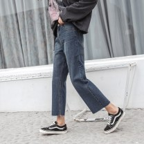 Women's large Spring of 2018 Denim blue Jeans singleton  commute easy moderate Solid color Korean version Three dimensional cutting C1072 18-24 years old Ninth pants
