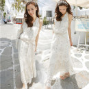 Dress Summer 2020 Picture color longuette other Sleeveless commute Crew neck middle-waisted other other Big swing other straps Type A Retro Hollowed out, Gouhua hollowed out, lace 51% (inclusive) - 70% (inclusive) Lace cotton