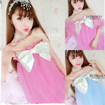 Dress Summer 2021 Average size Short skirt Three piece set Short sleeve Sweet One word collar Elastic waist Solid color Socket Lantern skirt Breast wrapping 18-24 years old Type H 31% (inclusive) - 50% (inclusive) solar system