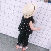 suit Other / other black About 80cm, about 2 yards, about 90cm, about 4 yards, about 100cm, about 6 yards, about 110cm, about 8 yards, about 120cm, about 10 yards, about 130cm, about 12 yards female summer Korean version Sleeveless + pants 2 pieces Thin money There are models in the real shooting Dot
