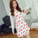 Dress Spring 2017 Cherry with white background S M L XL XXL Short skirt singleton  Long sleeves commute V-neck High waist Decor Socket A-line skirt routine Others 25-29 years old Caidaifei Korean version Splicing More than 95% knitting polyester fiber