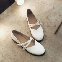 Low top shoes Pay attention to the shoe size is larger than half size 33 34 35 36 37 39 40 41 42 43 Other / other White Black Beige Round head Flat heel PU Shallow mouth Low heel (1-3cm) PU Spring of 2018 Mori Adhesive shoes Solid color rubber Single shoes Belt buckle PU daily Face dressing