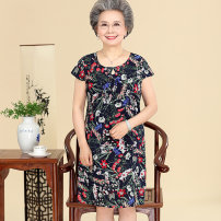 Middle aged and old women's wear Summer of 2018 Navy (32), black (2) L,XL,XXL,XXXL,4XL leisure time Dress easy singleton  Decor Over 60 years old Socket moderate Crew neck Medium length routine HJY1804-713 He Jiayuan silk 96% and above Medium length real silk other
