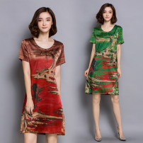 Dress Summer 2021 Red, green M,L,XL,2XL,3XL,4XL Mid length dress singleton  Short sleeve commute Crew neck Loose waist Decor Socket other routine Others 35-39 years old Type H Gorgeous Princess Retro Button, print 31% (inclusive) - 50% (inclusive) Silk and satin silk