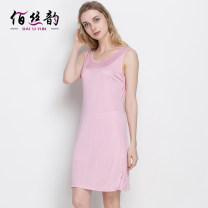 Nightdress Bai Siyun 160(M),165(L),170(XL),175(XXL),180(3XL) Simplicity Sleeveless Living clothes Short skirt summer Solid color youth Crew neck silk silk