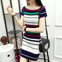 Dress Summer 2020 S,M,L,XL,2XL,3XL Mid length dress singleton  Short sleeve commute One word collar middle-waisted stripe Socket One pace skirt raglan sleeve Others 25-29 years old Type A Mai Yiduo Korean version Asymmetry 81% (inclusive) - 90% (inclusive) cotton