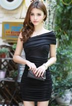 Dress Summer 2016 Black, apricot, one for 12 Average size Short skirt singleton  Sleeveless Slant collar Elastic waist Solid color Socket other other Oblique shoulder 18-24 years old bow 91% (inclusive) - 95% (inclusive) other other