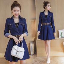 """Dress Spring 2020 """"Belt with vest"""" in dark blue S,M,L,XL,2XL,3XL,4XL Middle-skirt High waist routine pocket Denim"""