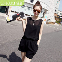Casual pants Black sky blue naked pink treasure blue S M L XL Summer 2015 shorts Jumpsuit Natural waist ultrathin 91% (inclusive) - 95% (inclusive) zx-0301 Zhixuan Polyester 92% polyurethane elastic fiber (spandex) 8%